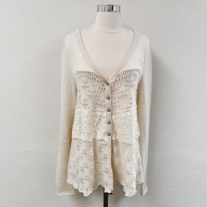 Free People Crochet Lace Cream Cardigan Sweater L